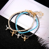 Boho Personality Girl Gold Silver Bull Skull Colorful Leather Braided Bracelet Set