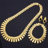 Ladies Beautiful African Queen 14k Gold Silver Earrings Bracelet Necklace Fashion Jewelry Set