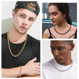 Classic Gold Silver Black Stainless Steel Miami Cuban Link Chain Necklace