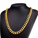 Real 18k Gold Over Anit Tarnish Stainless Steel classic Cuban Link Chain Necklace