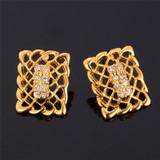 Ladies 14k Gold Rhinestone Fashion Square Drop Earrings