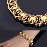 Ladies Unique Personality Girl 18k Gold Silver Black Double Round Bracelet