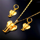 Cute Elephant Symbol Of Peace Earrings And Necklace 2 Piece Jewelry Set