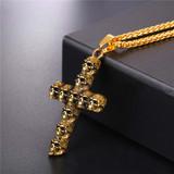 Mens Skeleton Skull Cross Gold Silver Stainless Steel Cross Pendant Chain Necklace