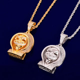 Flooded Ice True Micro Pave 18k Gold Silver Steampunk Hoody Skull Pendant Chain Necklace