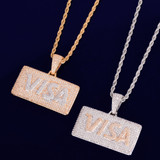 True Micro Pave Real 18k Gold Silver Credit Card Flooded Ice Hip Hop Pendant Chain Necklace