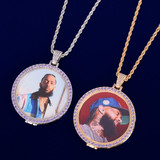 Flooded Ice .925 Silver Real 18k Gold Swerve Purple Ice Custom Made Photo Hip Hop Pendant Chain Necklace