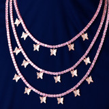 1 Row Flooded Ice Pink Handset Stone 4mm Butterfly Tennis Chain Necklace