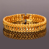Mens 12mm 18k Gold Platinum Silver Black Hemetite Wide Chain Link Bracelet