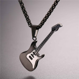 Mens Stainless Steel Iced Out Silver Electric Guitar Chain Necklace Pendant