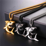 Mens Stainless Steel 18k Gold Silver Black Big Shark Hip Hop Pendant Chain Necklace