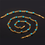 Turquoise Stone Cuban Link Ladies 14k Gold Bracelet Necklace Jewelry Set