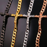 14k Rose Gold Black Platinum INRI Crucifix Jesus Piece Cuban Link Cross Bracelet