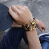 18k Gold Over Stainless Steel Skull Bones Skeleton Bling Bracelet