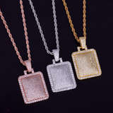 Iced 18k .925 Silver Rose Gold Micro Pave Square Big Boy Hip Hop Pendant Chain Necklace