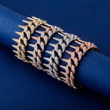 Rose Gold 14k .925 Silver AAA Simulated Lab Diamond Spiked Rivet Cuban Link Hip Hop Bracelet