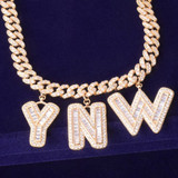 18k Gold .925 Silver Rose Gold Flooded Ice Baguette Stone 10mm Custom Letter Cuban Link Chain