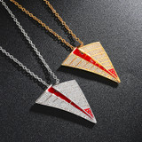 AAA Micro Pave Paper Airplane Flooded Ice Aircraft Hip Hop Pendant Chain Necklace