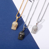 Solid 925 Flooded Ice Silver Black 14k Gold Goon Mask Hip Hop Pendant Chain Necklace
