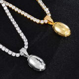 Mens Flooded Ice Hip Hop 18k Gold 3D Football AAA Micro Pave Pendant Chain Necklace