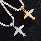 18k Gold .925 Silver AAA Micro Pave Hip Hop Airplane Bling Pendant Chain Necklace