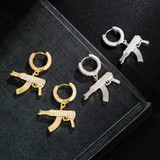 18k Gold .925 Silver AAA Micro Paved AK47 Machine Gun Dangle Hoop Hip Hop Flooded Ice Earrings