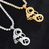 Flooded Ice Handcuffs CUF 18k Gold .925 Silver Hip Hop Pendant Chain Necklace