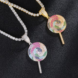 Candy Ice Lollipop Lick 18k Gold .925 Silver Hip Hop Pendant Chain Necklace