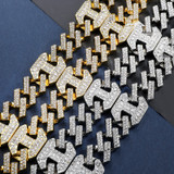 17mm 18k Gold .925 Silver Designer Princes Cut Flooded Ice Cuban Link Bracelet Chain Jewelry Set