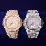 Flooded Ice Bust Down Square AAA Baguette Hip Hop Wrist Watch
