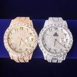 18k Gold .925 Silver Flooded Ice International Baller Arabic Numerals Hip Hop Wrist Watches