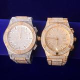 Doube Bezel Flooded Ice 18k Gold .925 Silver Handset AAA Stone Hip Hop Wrist Watch