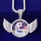 Flooded Ice Angel Wings Solid Back Custom Photo Picture Pendant Chain Necklace