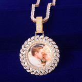18k .925 Silver Rose Gold Flooded Ice Wreath Hip Hop Photo Picture Chain Pendant