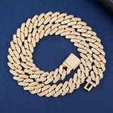 18k Gold AAA Micro Pave 4 Prong Box Clasp Miami Cuban Tight Link Chain Necklace