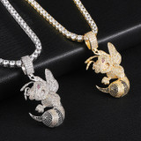 18k Gold .925 Silver Killer Bee AAA Micro Pave Hip Hop Pendan Chain Necklace