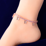 Ladies Tennis Chain Pink Butterfly Simulate Diamond 4mm Anklet Ankle Bracelet