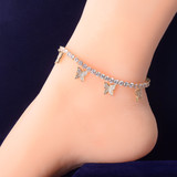 AAA True Micro Pave 18k Rose Gold .925 Silver 4mm Adjustable Butterfly Anklet Ankle Bracelet