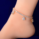 18k Gold Silver Rose AAA Simulate Diamond Ruby Crystal 4mm Tennis Chain Ankle Bracelet