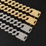 Square Cut 18k Gold .925 Silver Designer Cuban Link Chain Bracelet Set