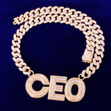 24k Gold Custom Name Baguette Flooded Ice Hip Hop Pendant Chain Necklace
