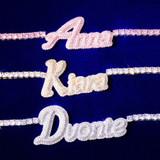 AAA Micro Pave Close Cut Custom Name 18k Silver Rose Gold Hip Hop Pendants