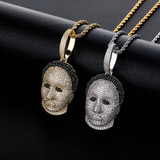 Jason Mask AAA Micro Pave 14k Gold Flooded Ice Bling Pendant Chain Necklace
