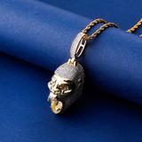 Flooded Ice Bling 14k Gold Gorilla Jungle Skull Hip Hop Pendant Chain Necklace