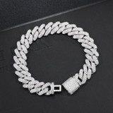 925 Silver 18k Gold Flooded Ice Close Cut Square Cuban Link Hip Hop Bracelet