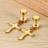 14k Gold Silver Black Dangling Cross Screw Back Solid Stainless Steel Earrings