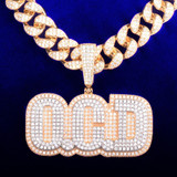 Custom Flooded Ice 2 Layer AAA Micro Pave 18k Gold Cuban Link Chain Pendant