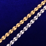 White Gold 24k Yellow Gold 7mm G-Link Coffee Bean Hip Hop Bracelet