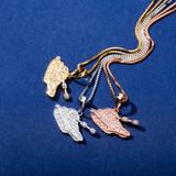 Ladies 14k Rose Gold 925 Solid Sterling Silver Hip Hop Tank Girl Pendant Necklace