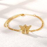 Boho Style Butterfly 14k Gold Silver Rose Gold Over Stainless Steel Anklets Ankle Bracelet